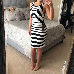 Bebe stripe midi dress